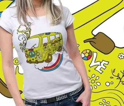 Funshirt - Designer T-Shirt - Hippie Peace Bus Love